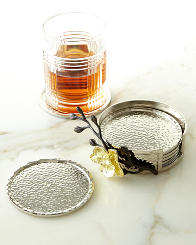 Gold Orchid Coasters, 6-Piece Set