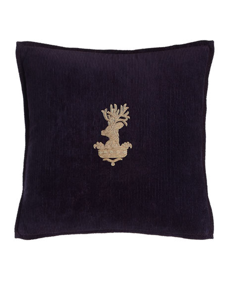 Ralph Lauren Home Purple Inverness Stag-Head Pillow, 18