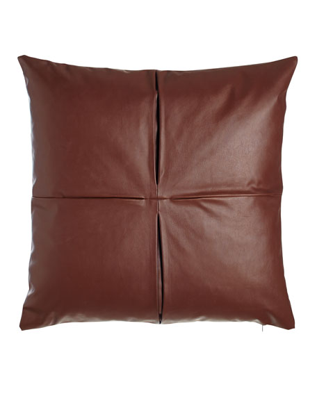 """Faux-Leather Pillow, 26""""Sq."""