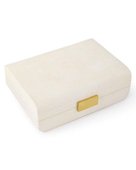 AERIN Cream Faux-Shagreen Decorative Boxes