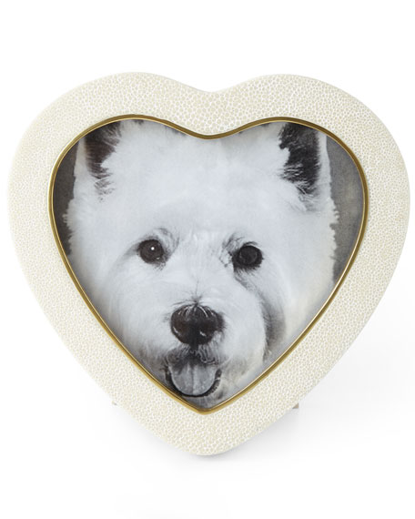 AERIN Cream Shagreen Heart Picture Frame