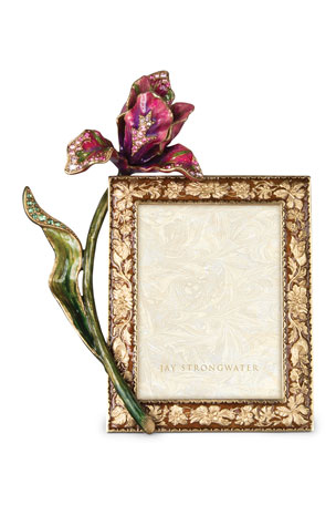 """Jay Strongwater Brocade Floral 3"""" x 4"""" Picture Frame"""