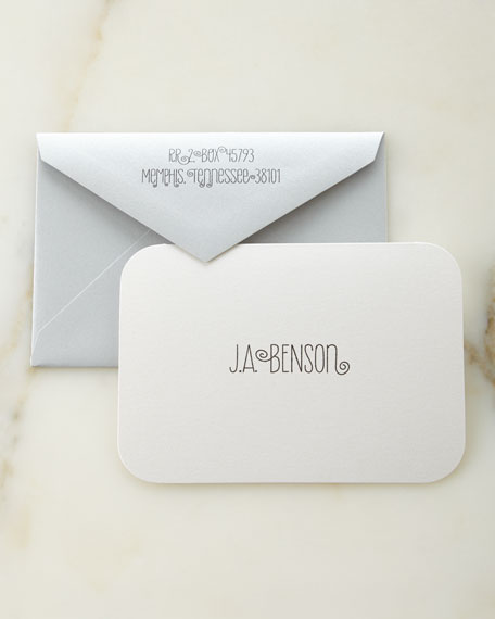 Carlson Craft White Shimmer Personalized Cards and Envelopes