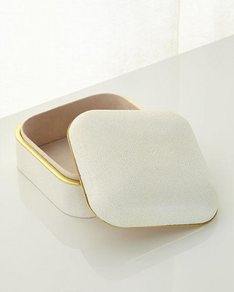 Cream Shagreen Square Box