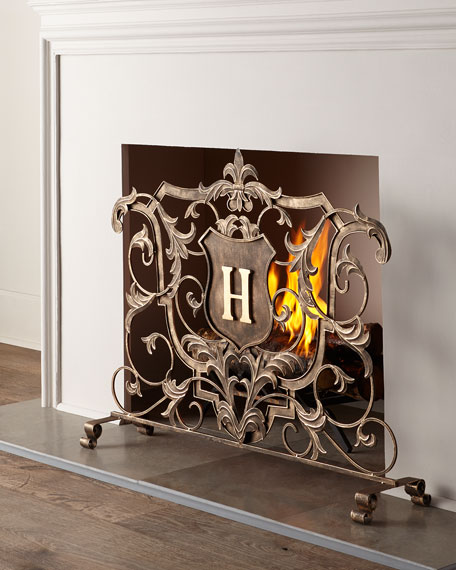 Image 1 Of 2 Monogrammed Fireplace Screen