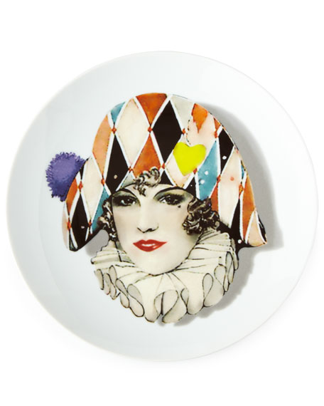Love Who You Want Miss Harlequin Dessert Plate