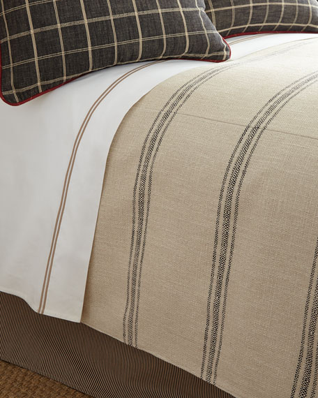 French Laundry Home King Kent Wood Striped Coverlet,