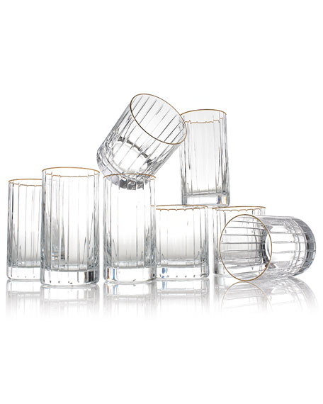 Rogaska Avenue Gold-Rim Highballs, Set of 4