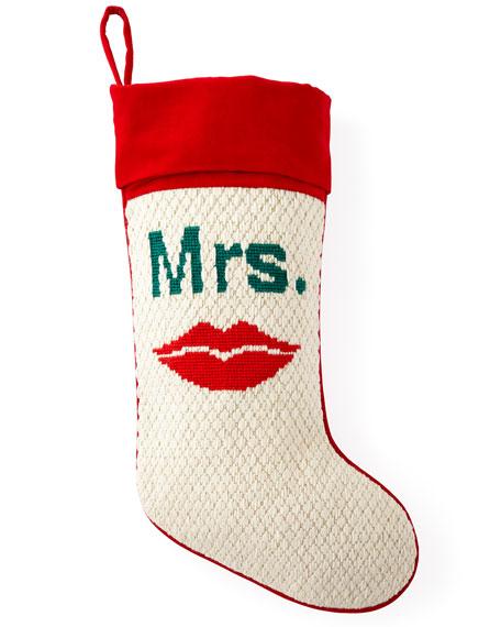 Mrs. Needlepoint Christmas Stocking