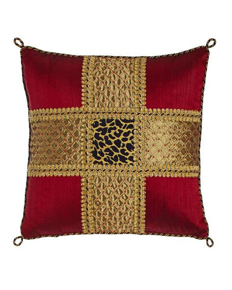 Marrakesh Beaded Silk Pillow with Leopard Center, 15