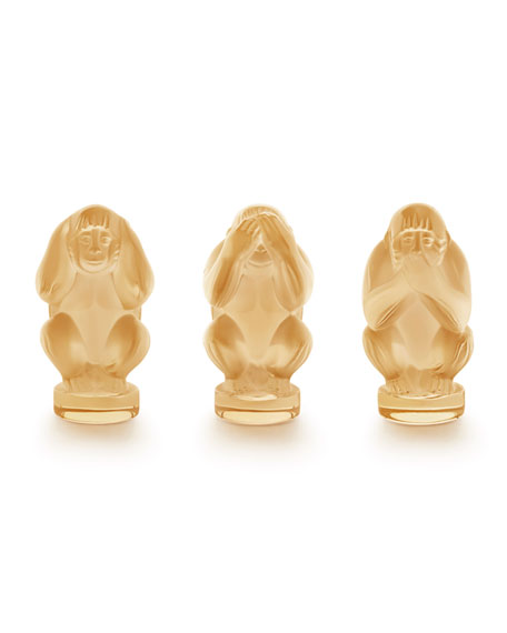 Lalique Wisdom Monkeys, 3-Piece Set