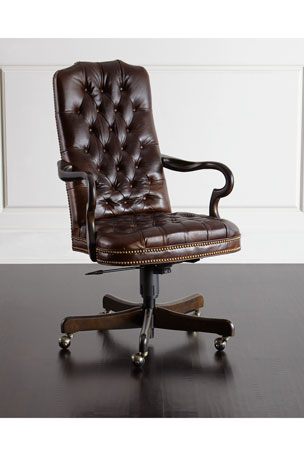 Massoud Blevens Tufted-Leather Office Chair