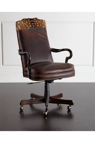 Massoud Vale Leather Hairhide Office Chair