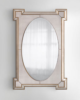 Rectangular Mirror with Oval Center