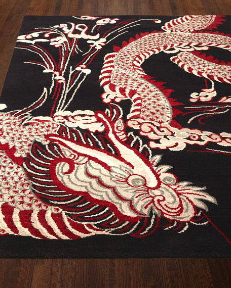 Josie Natori Black Dragon Rug & Matching Items