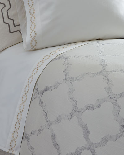 King Diamond Eyelet 400TC Fitted Sheet