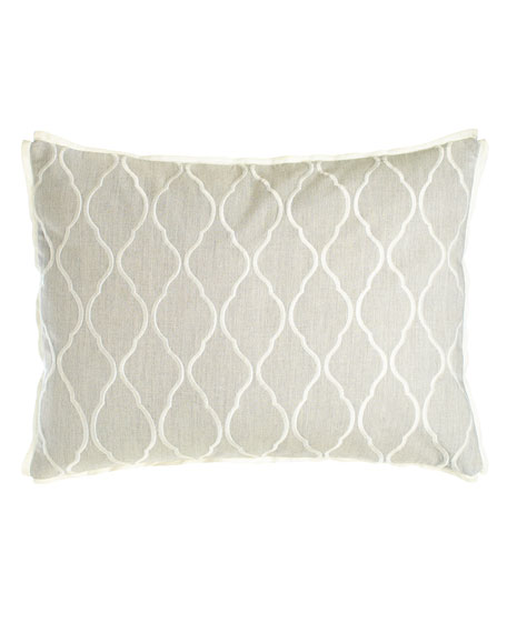 "Embroidered Ogee Pillow, 15"" x 20"""