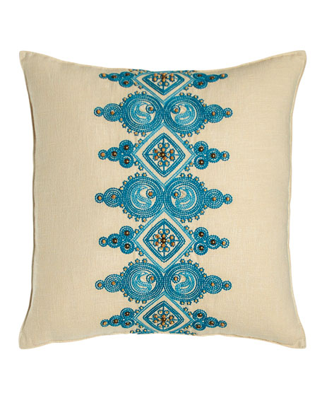 Trina Turk Catalina Paisley Pillow with Blue Embroidery