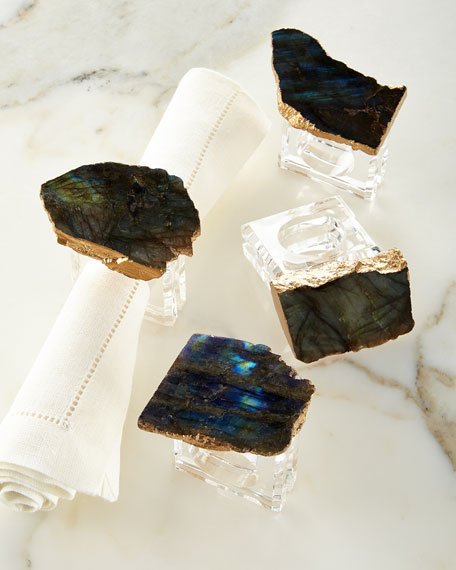 Sir Oliver's Labradorite Napkin Rings, Set of 4