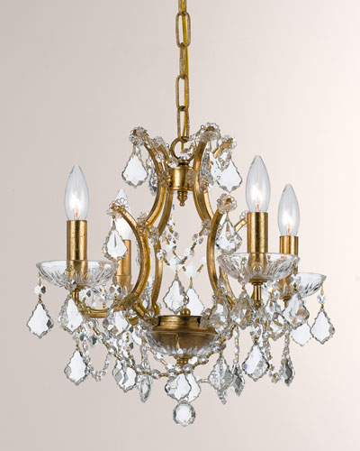 Crystorama Filmore Four-Light Elements Crystal Gold Mini Chandelier