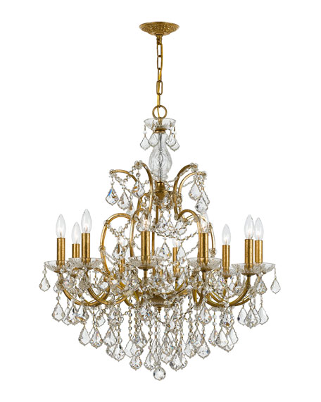 SWAROVSKI Crystorama Filmore 10-Light Swarovski Gold Chandelier