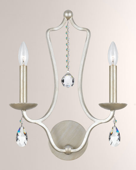 Swarovski Crystorama Manning Two-Light Silver-Leaf Sconce