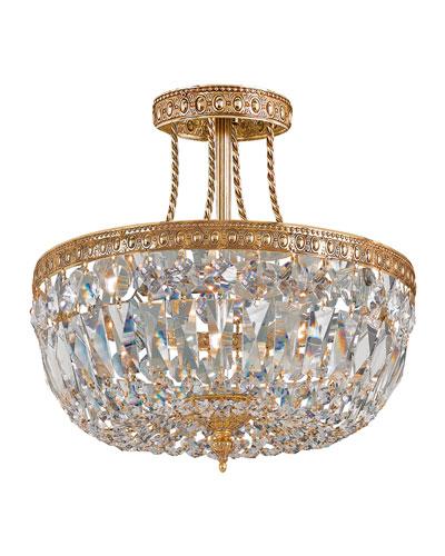 Crystorama Three-Light Clear Swarovski Brass Semi-Flush Ceiling Light