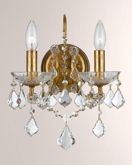 Swarovski Crystorama Filmore Two-Light Elements Crystal Gold