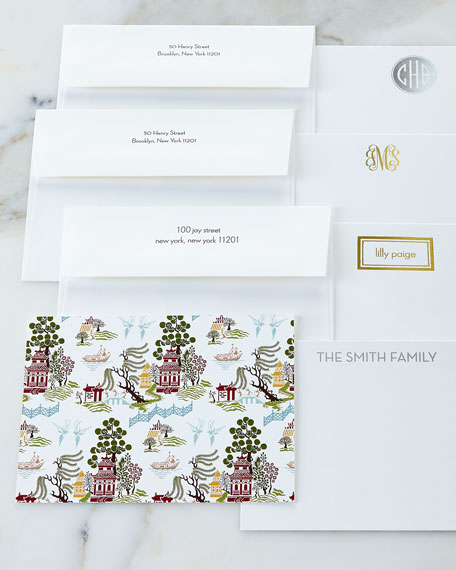 Boatman Geller Chinoiserie Autumn Flat Cards with Personalized