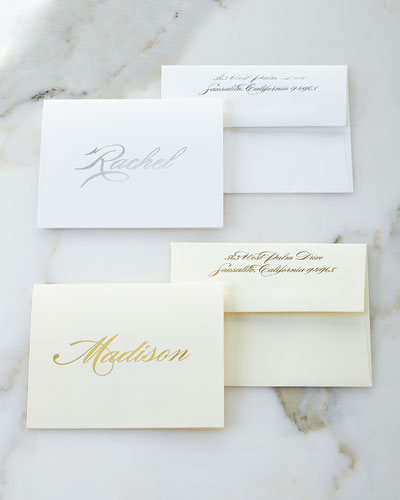 Foil-Embossed Foldover Notes with Personalized Envelopes