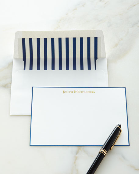 Correspondence Cards Hand Bordered in Navy with Personalized Envelopes