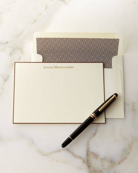 Correspondence Cards Hand Bordered in Chocolate with Personalized Envelopes