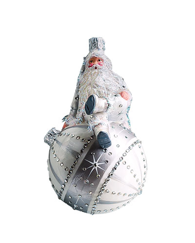 Beguiling Claus Santa Sitting on Ball Ornament