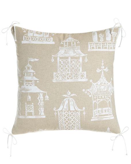 """Ming Pagoda Pillow, 22""""Sq."""