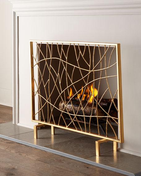 Golden Twig Fireplace Screen