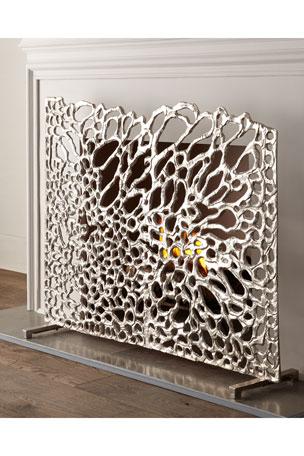 John-Richard Collection Organic Nickel Fireplace Screen