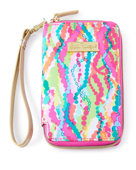 Pink Multi-Print Tiki Palm iPhone 6 Wristlet