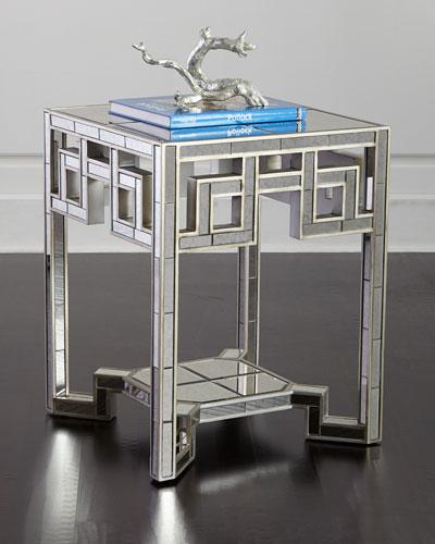 Lattice Mirrored End Table