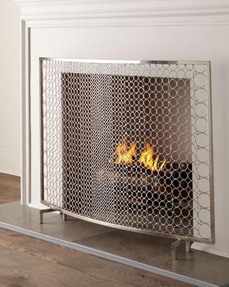 Silver Fireplace Doors : Interlude home sabrina fireplace screen neiman marcus