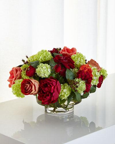 Fuchsia & Green Faux-Floral Arrangement