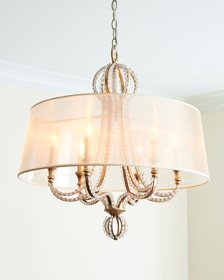 Crystal Beaded 6-Light Shaded Chandelier