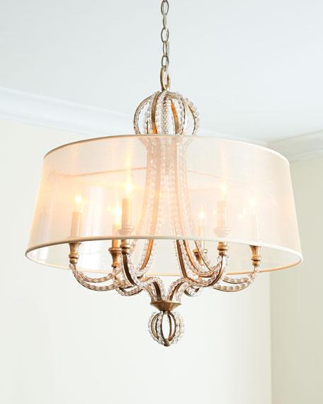 Crystal Beaded 6-Light Shaded Chandelier