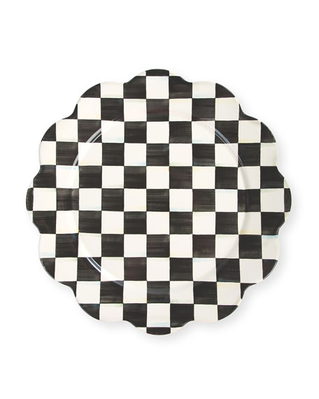 MacKenzie-Childs Courtly Check Enamel Petal Platter