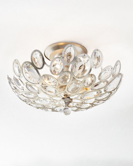 Crystal ovals 3 light flush mount ceiling fixture