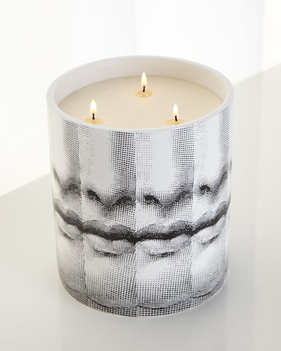 Neimanmarcus Fornasetti Mille Bocche Three-Wick Candle