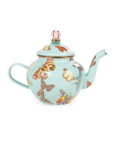 MacKenzie-Childs Sky Butterfly Garden 4-Cup Teapot