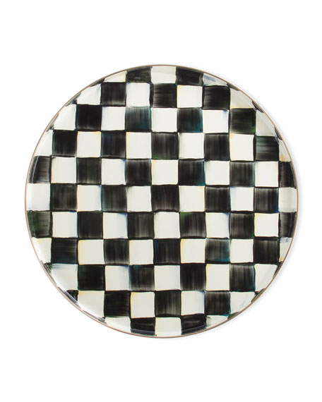Courtly Check Round Enamel Tray