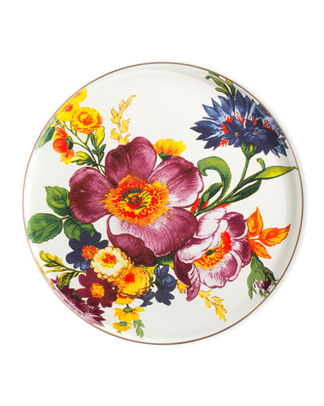 MacKenzie-Childs White Flower Market Round Tray