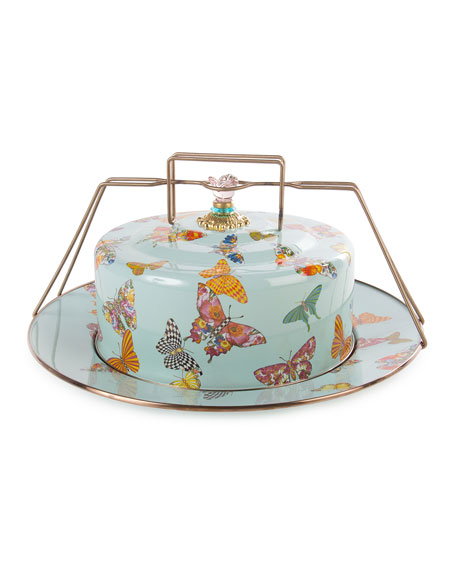 MacKenzie-Childs Sky Butterfly Garden Cake Carrier