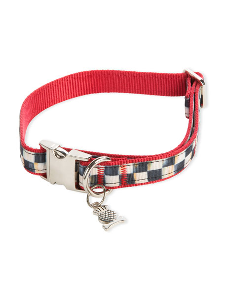 Medium Courtly Check Couture Red Dog Collar